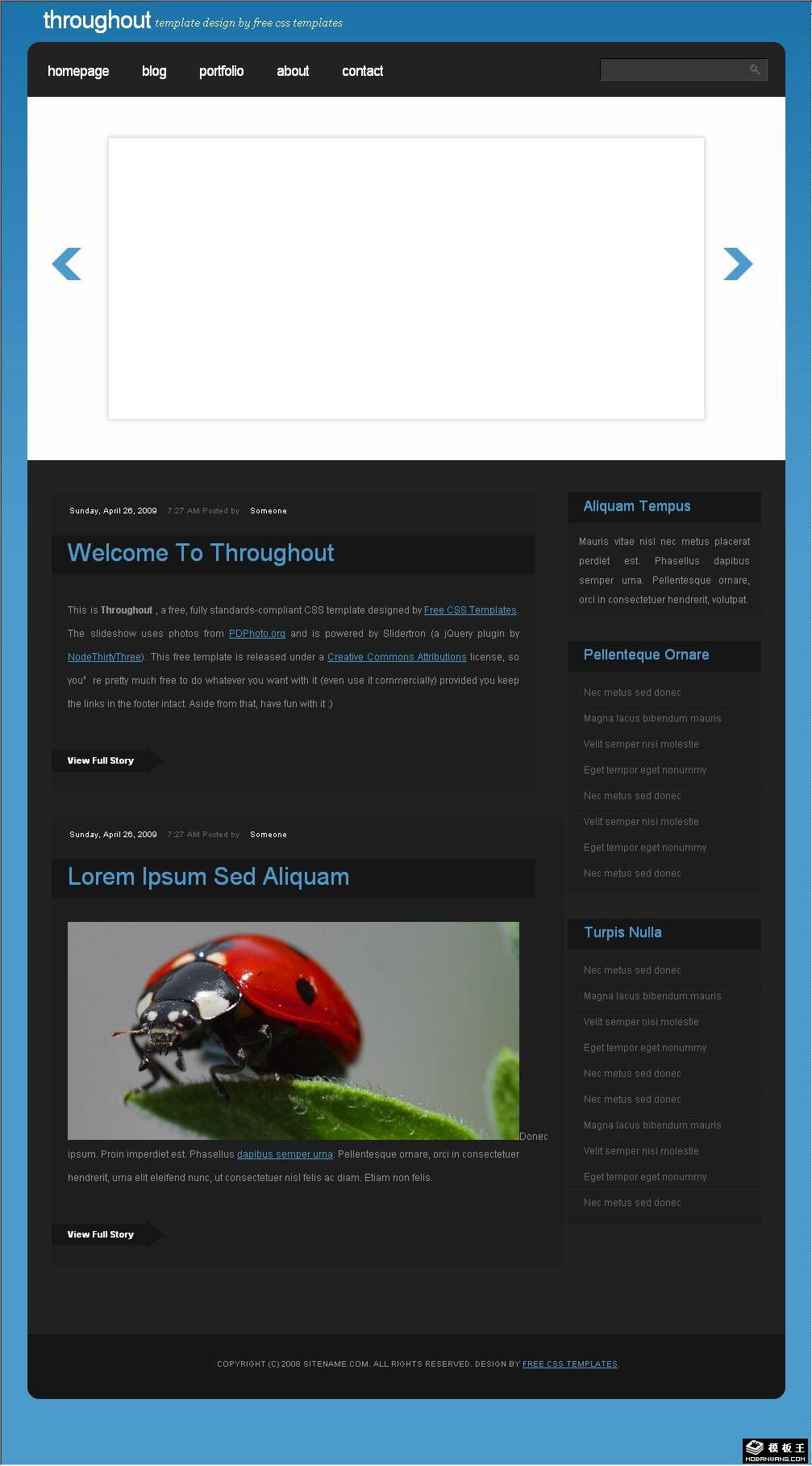 黑蓝blog展示网页模板