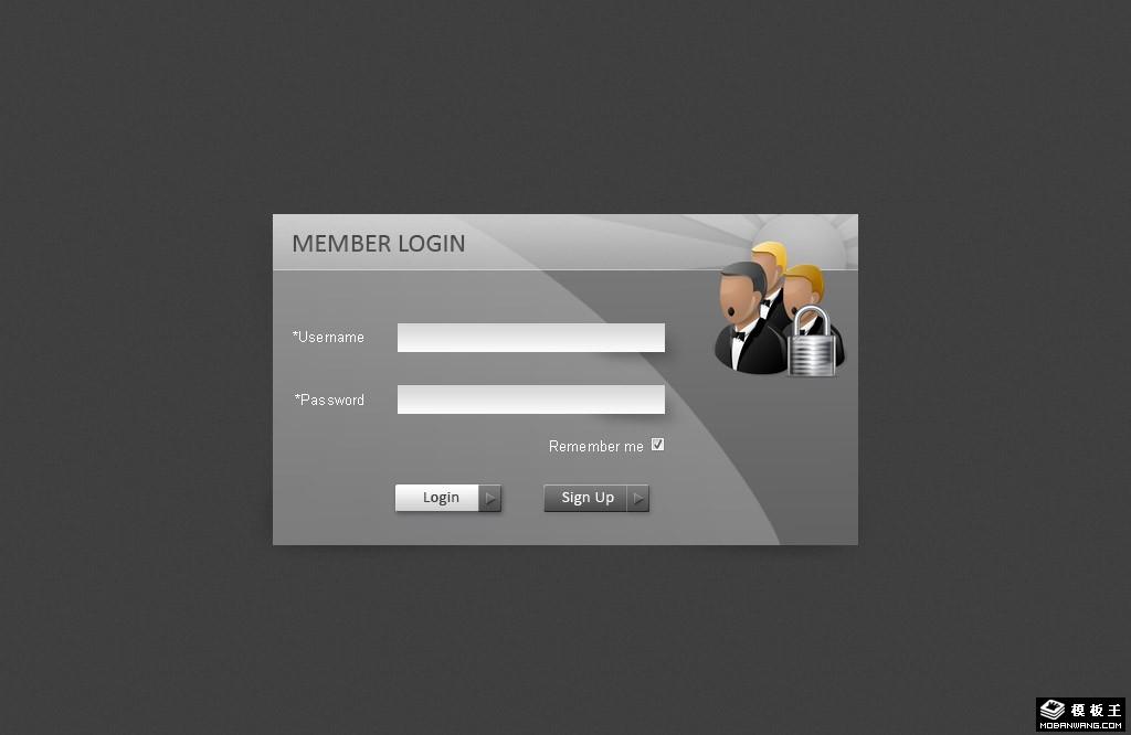 灰色时尚登录界面网页模板
