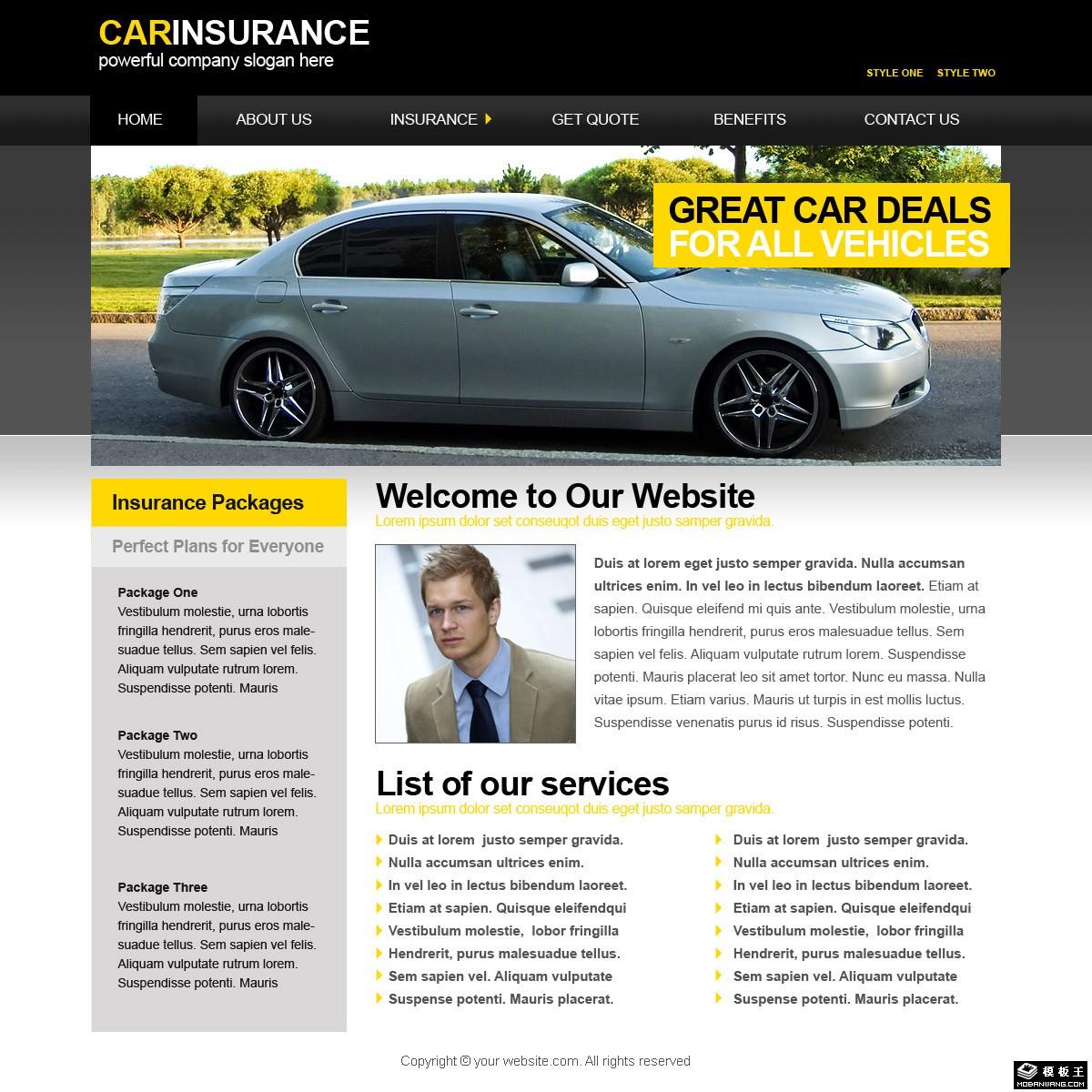 汽车保险公司网页模板