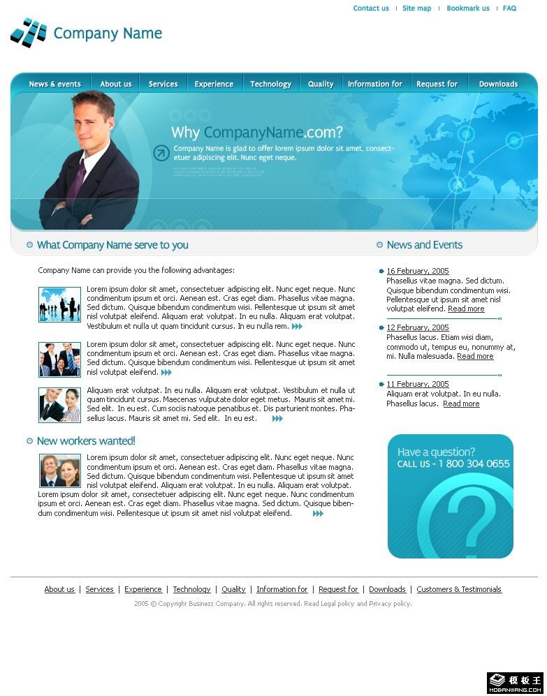 com; 蓝色国际软件商务网页模板免费下载_模板王; 静态网站设计-整站
