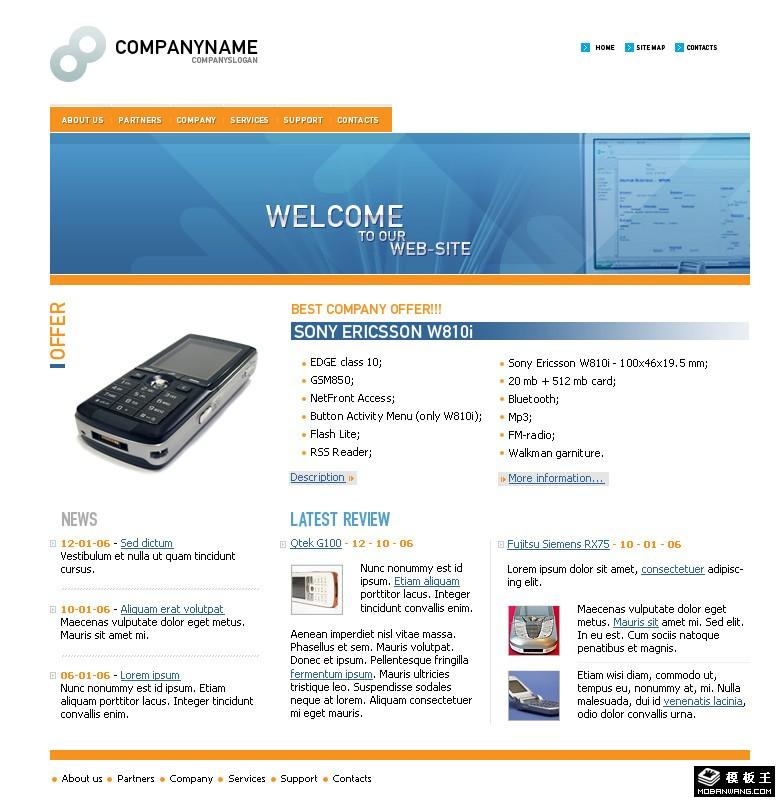 无线语音通信技术网页模板免费下载_网页模板psd源文件免费下载_网站