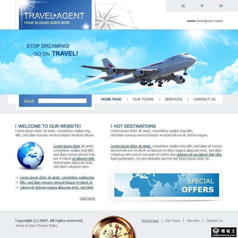 站长模版网; 航空旅行公司网页模板免费下载_网页模板psd源文件免费下