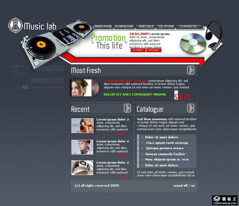 电子芬克音乐网页模板