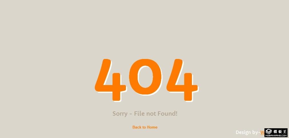 简洁橙色404错误网页模板