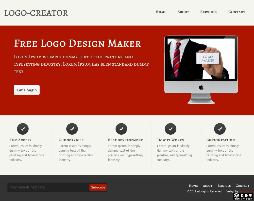 暗红标志设计公司网页模板