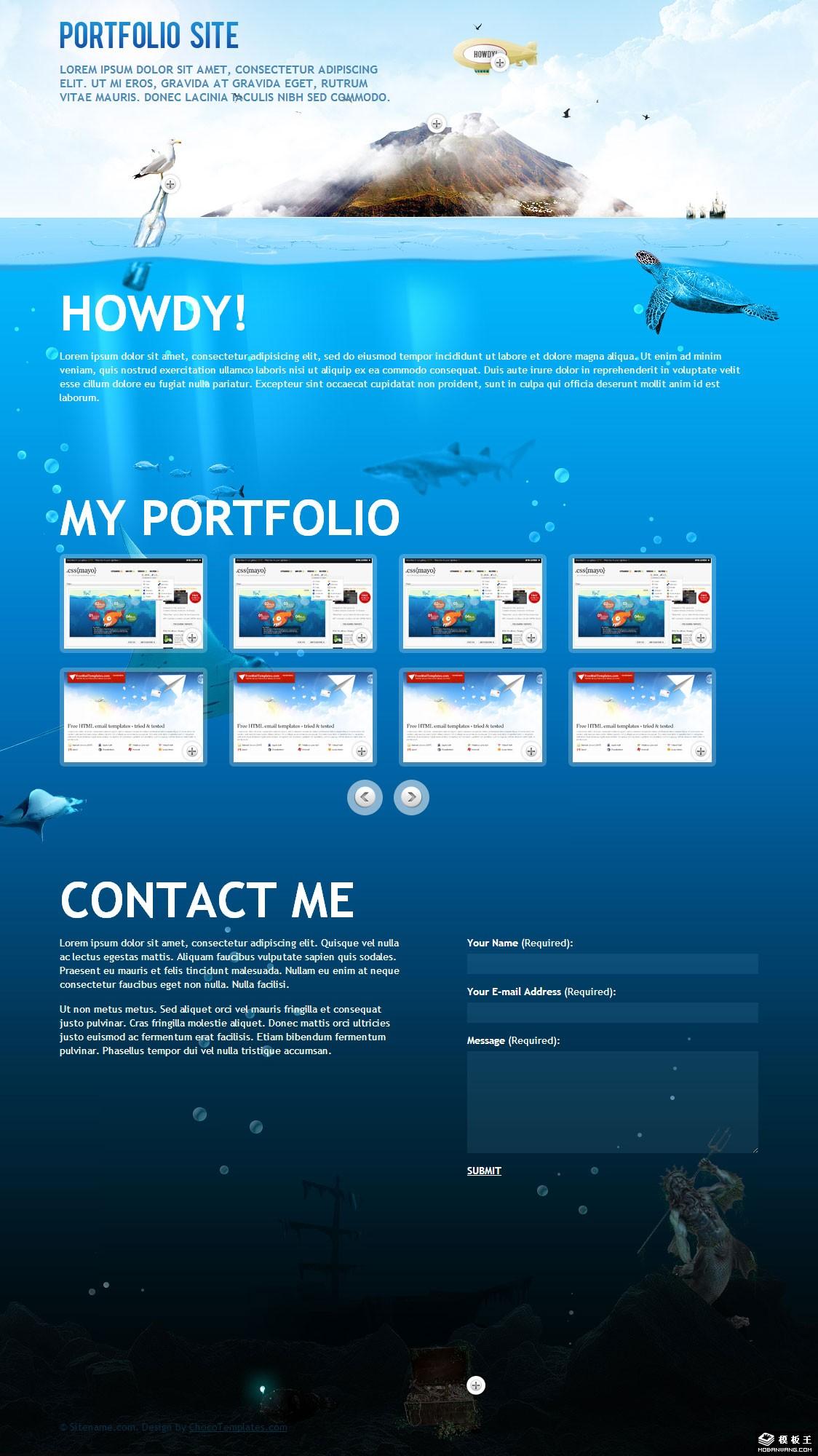 海洋世界主题网站模板免费下载_模板王图片