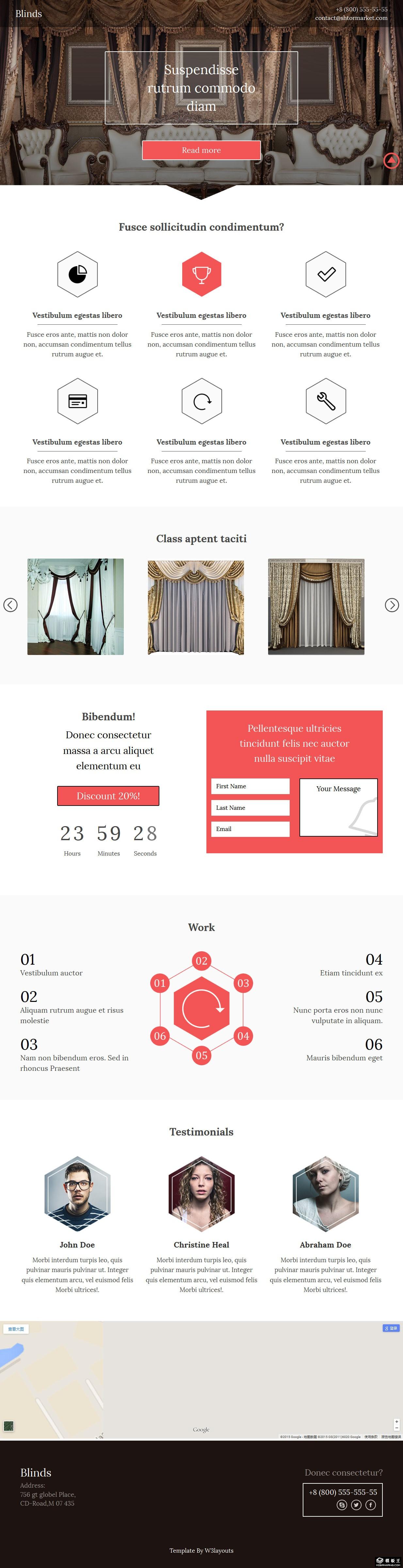 奢华窗帘设计响应式网页模板