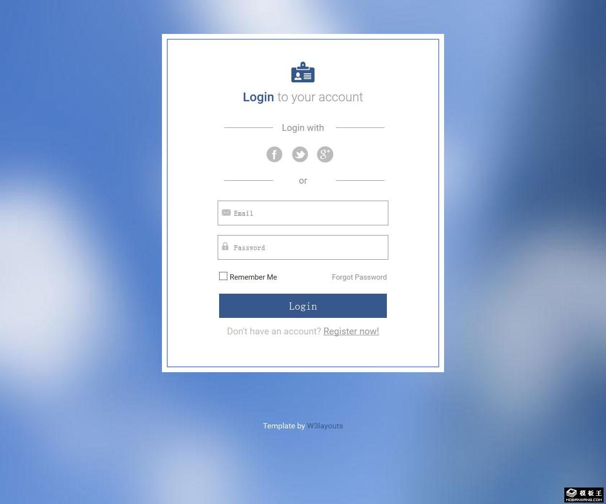 宝石蓝会员登录框响应式网页模板