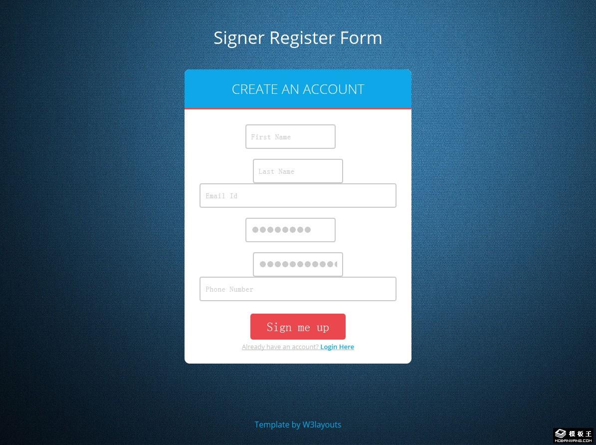 蓝色注册登录表单响应式网页模板