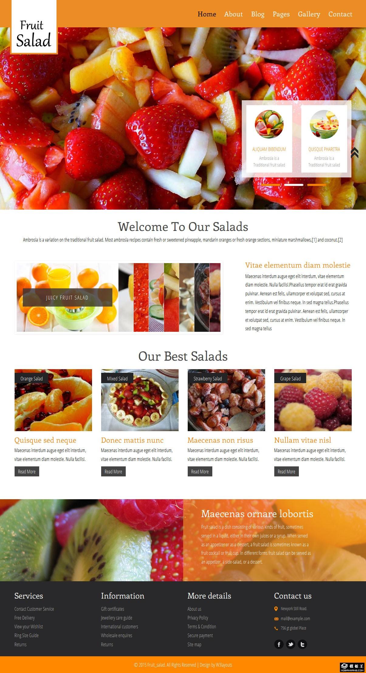 水果沙拉餐厅介绍响应式网站模板