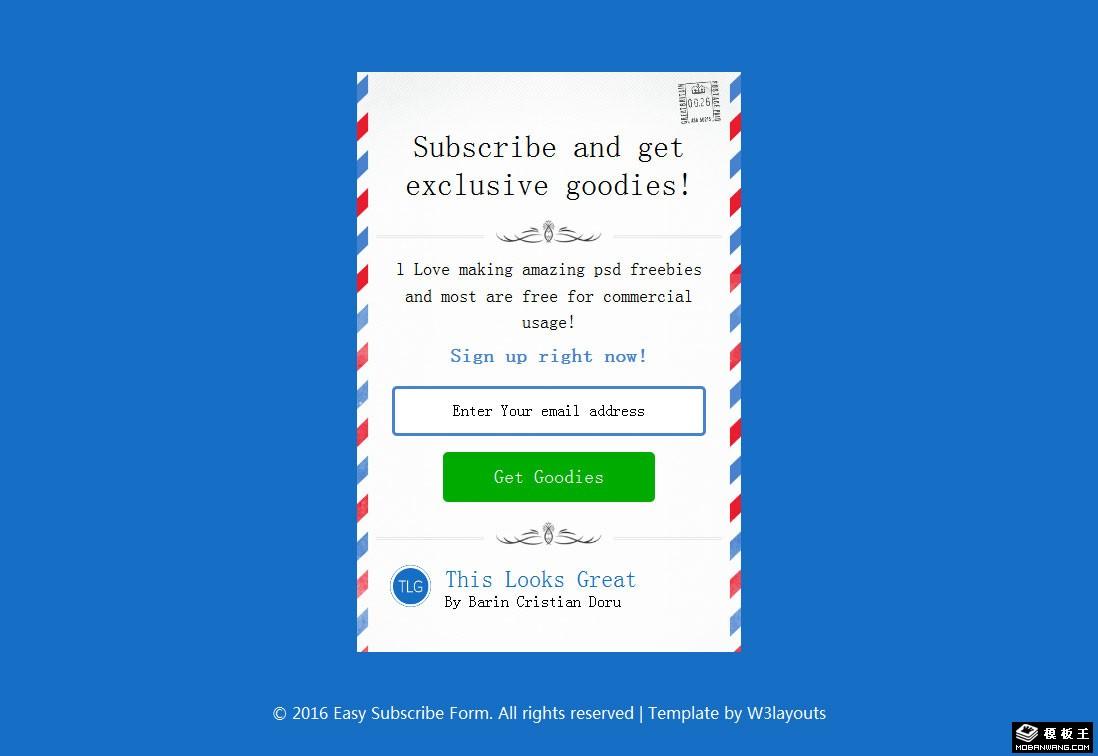航空信封边框邮件订阅网页模板