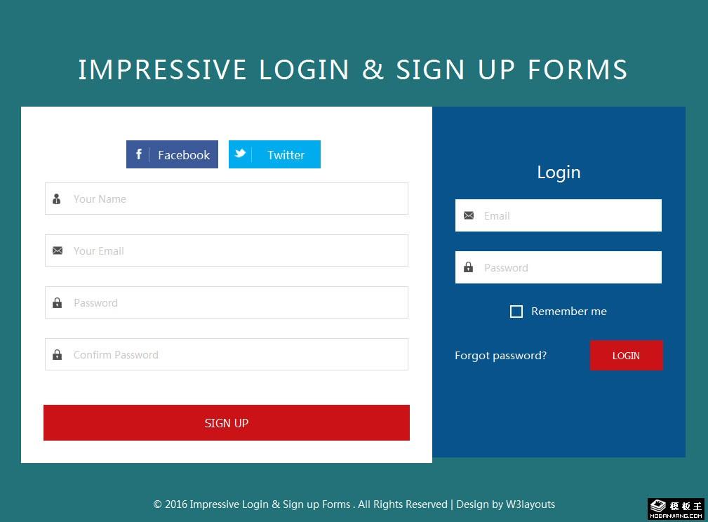 扁平登录注册界面响应式网页模板免费下载_模板王