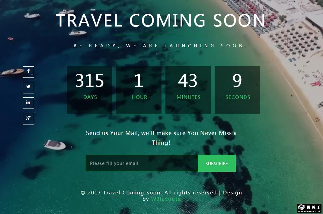 旅行开启倒计时响应式网页模板免费下载_模板王