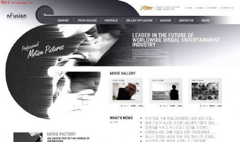 韩国黑色风景电影网站模板