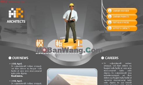 欧美建筑工人网页模板