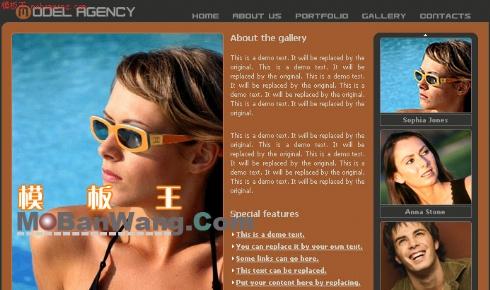 欧美模特画廊网页模板