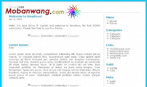 简单css博客网页模板