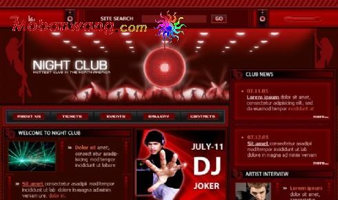 红色午夜俱乐部网页模板