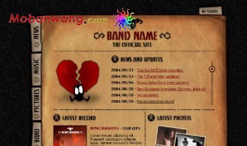 乐队组合俱乐部网页模板