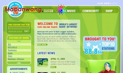 绿色音乐电台网站模板