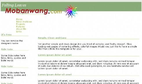落叶归根浅绿色BLOG网页模板