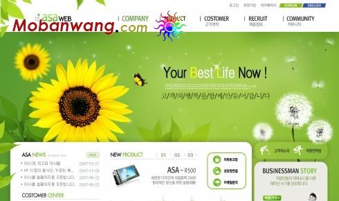 绿色向日葵企业商务网页模板