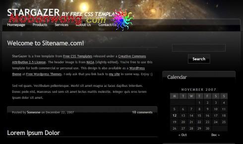 黑色天文学BLOG网页模板