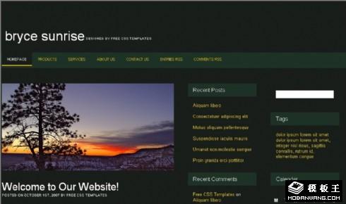 深绿色日落BLOG网页模板