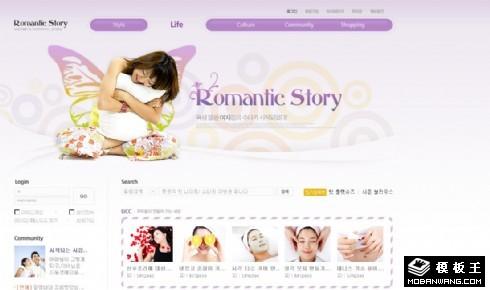 紫色浪漫美容社区网页模板