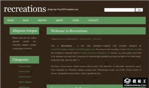 娱乐活动信息网页模板