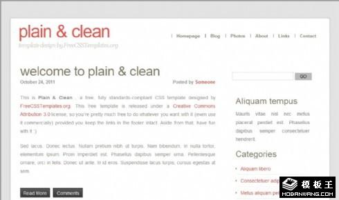 简洁日志信息网页模板