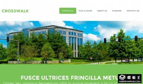 绿色人行横道列表网页模板