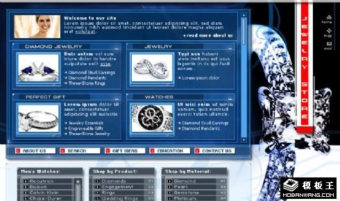 蓝色珠宝首饰手表网页模板