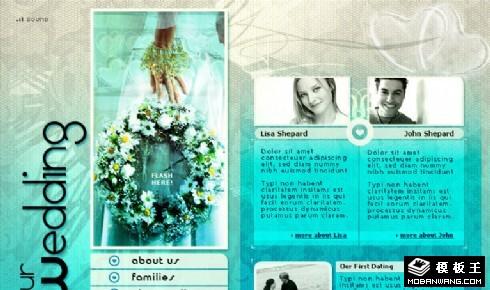 湖蓝至爱婚纱主题网页模板