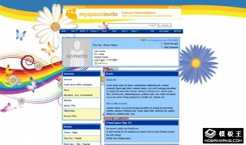 彩虹花蝶个人网页模板