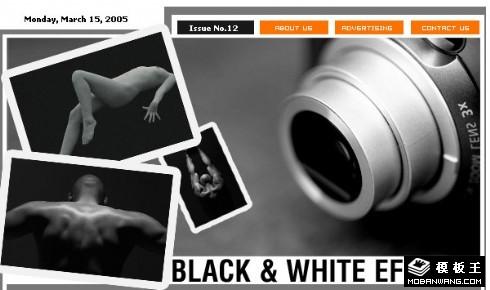 黑与白人体艺术邮件网页模板