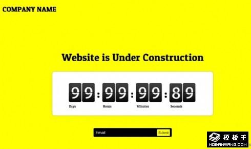 黄色网站建设中倒计时网页模板