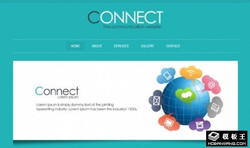 绿色网络通信服务网页模板