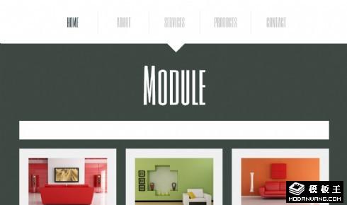 深灰绿模块化家居空间网页模板