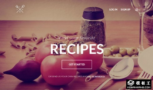 餐饮食材食谱多屏手机网页模板