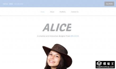 爱丽丝个人简历响应式网页模板