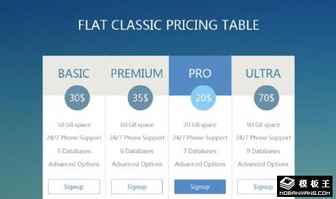 蓝色经典参数价目表响应式网页模板