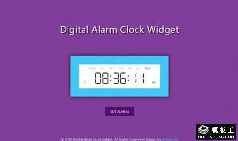 数字时钟闹钟组件响应式网页模板