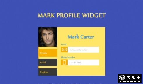 个人名片切换选项卡网页模板
