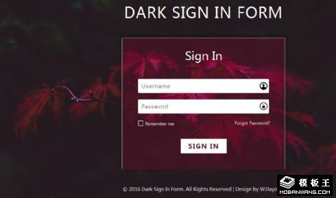 暗黑登录框响应式网页模板