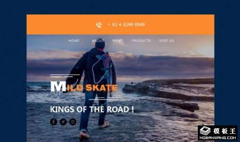 滑板运动介绍销售响应式网页模板