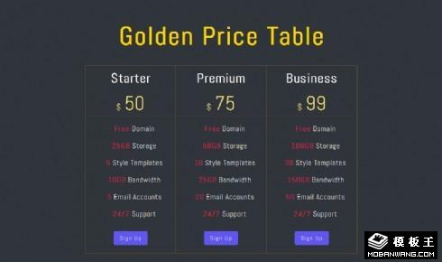 简单价格参数表响应式网页模板