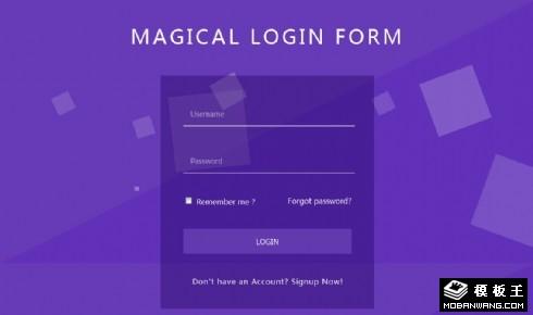 紫蓝动态背景登录框网页模板