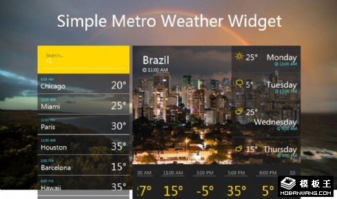 多城市天气预报组件网页模板
