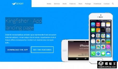 蓝色APP产品介绍响应式网页模板
